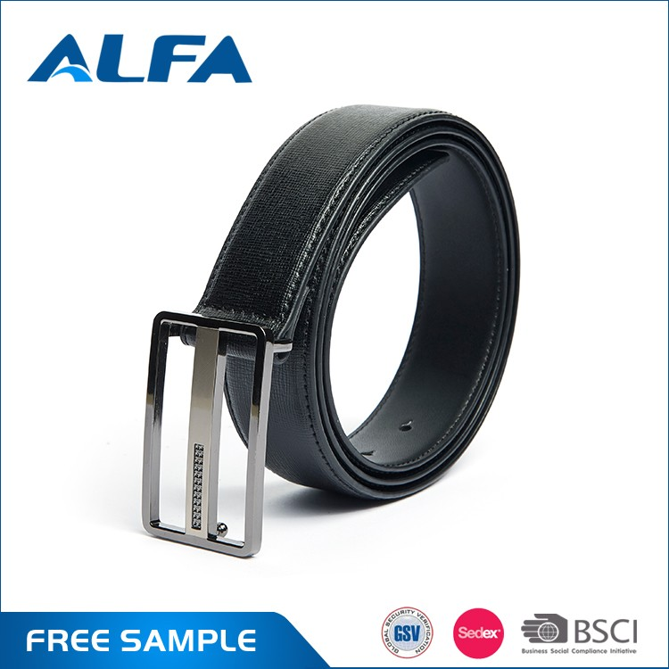 Alfa High Quality Split Leather PU Coating Skinny Adjustable Trouser Slide Belt For Men