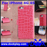 Factory Supply Folio Wallet Cover for iPhone4 iPhone 4 Crocodile Leather Case