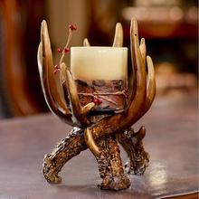 New creative home decor antique resin antlers candlestick made in china