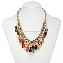 Gold link chain glass crystal bib necklace multi charm bead statement necklace