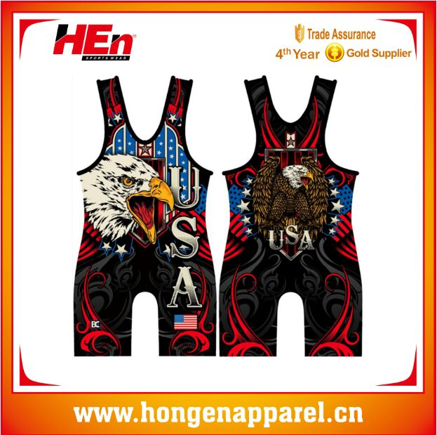 Hongen apparel Full Sublimation High Quality Compression Wrestling Wearing