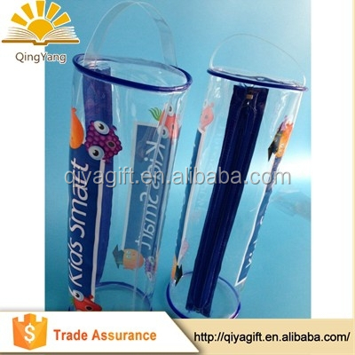 wenzhou cangnan wholesale clear plastic transparent pvc cylinder shape pencil case for man