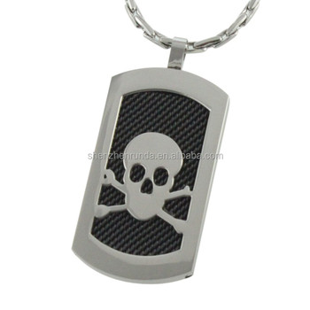 Custom Men Fashion Stainless Steel Pendant Engravea Skull Pendant Tag Necklaces Jewelry