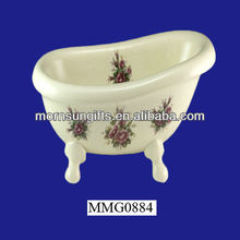 Vintage ceramic California baby bath tub with stand