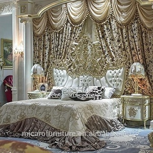 High level brass and wooden royal furniture antique bedroom for villa