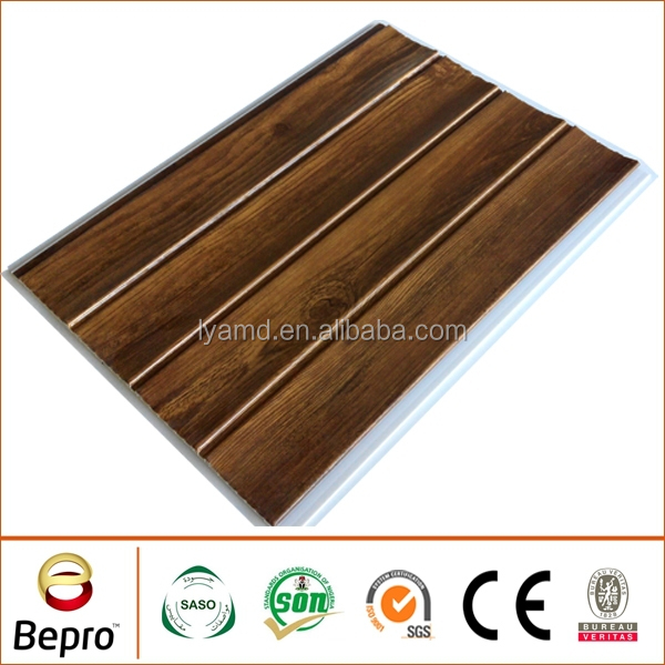 Indoor PVC wooden panel with grooves