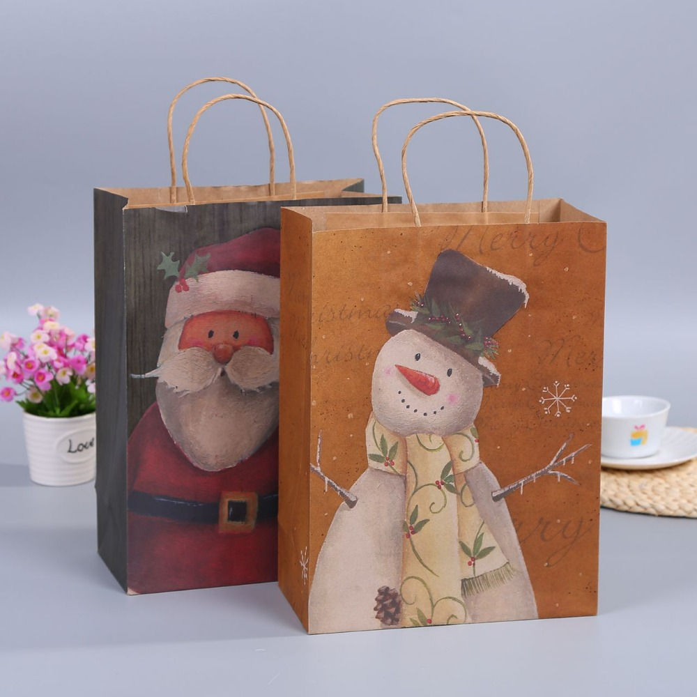 Recycled Green Machine Made Christmas Colored Brown Kraft Paper Bag With Customized Logo For Gift Packaging