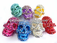Crystal rhinestone skull beads!! Jewelry metal plated skull carved beads for making shamballa bracelets!! !!
