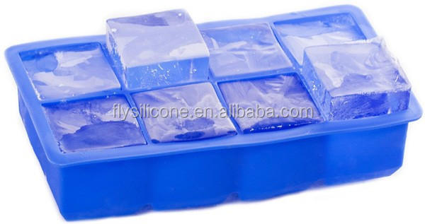 High quality large size 8 Cavity square custom silicone ice cube tray