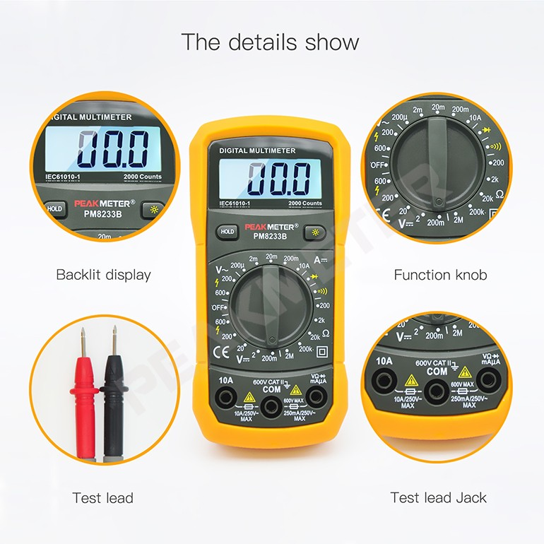 Peakmeter Portable Manual Range Low Price Multimeter Digital CE & RoHS