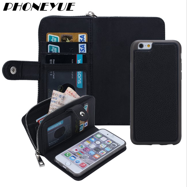Universal Detachable Wallet Style Flip PU Leather Card Mobile Cell Smart Phone Cover Case For iPhone 5 6 6s 7 For Oneplus One