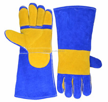 "14"" Blue Yellow AB Grade Split Cowhide Leather Full Palm Patch Personalized Welding Gloves"