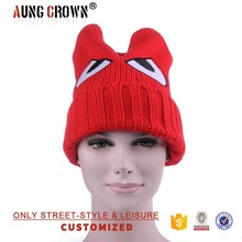 Fashion Warm Custom Crochet Beanie Hat with Embroidery Eyes