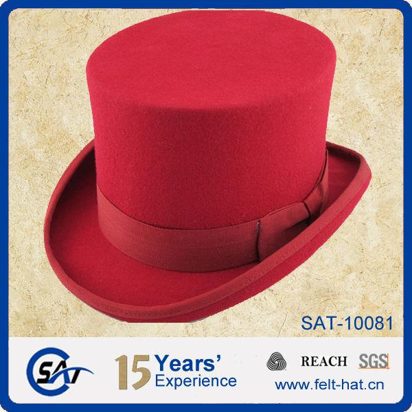 Comprar cartola 100% australiano lã de feltro vermelho top hat ... 468c54b8b0f