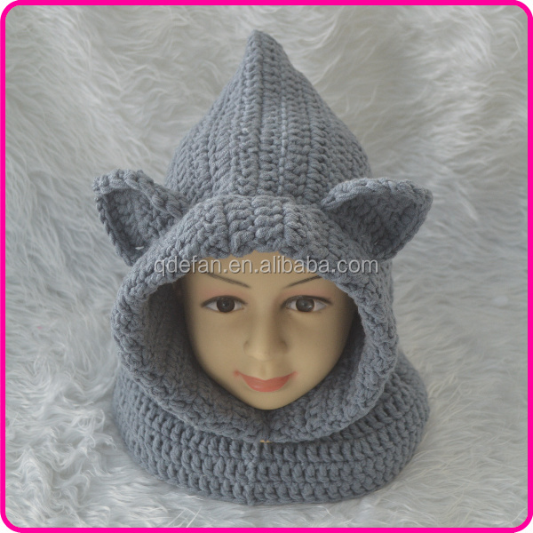 knitted hooded scarf hat animal hood hat boys crochet hats