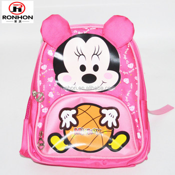 polyester pink mickey print girls small size school bag