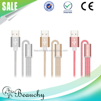 2016 Beauchy OD 3.5mm cotton braided 2m gold usb 3.1 type c adapter 3 in 1 cable