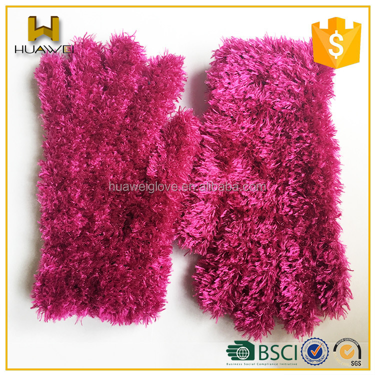 Warm Winter Novelty Knitted Gloves Cute Children Feather Knitted Hand Gloves
