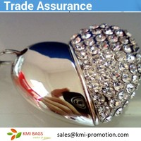 most popular hot sales item factory price custom jewelry necklace crystal heart shape 16GB usb with custom made logo