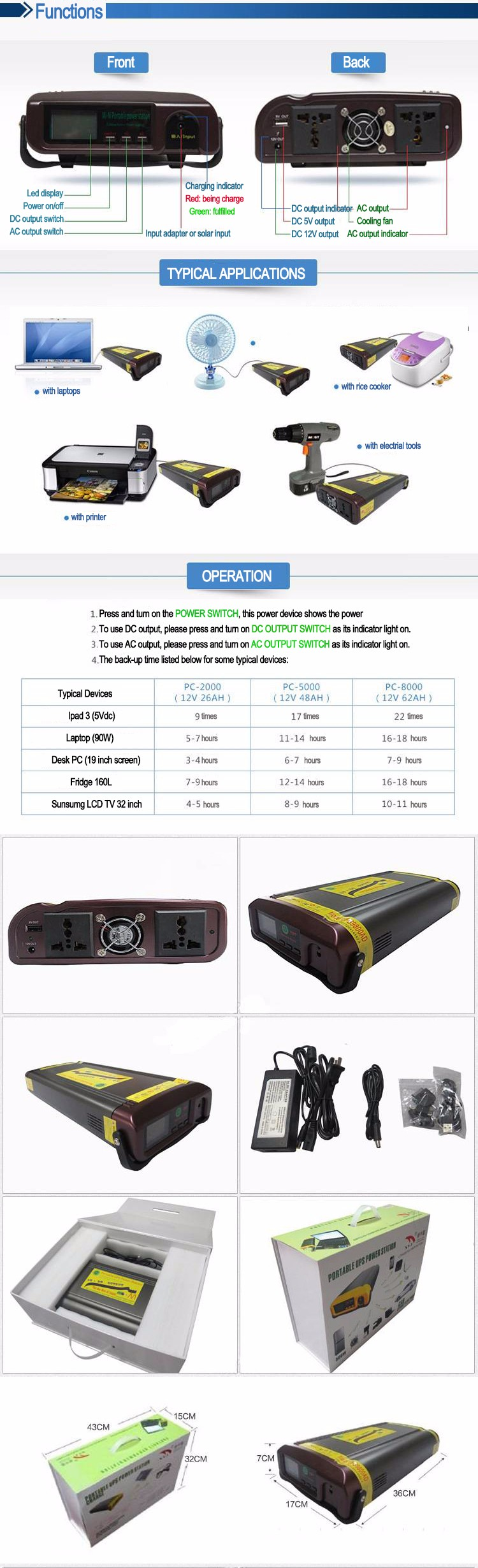 Portable Solar charge outdoor emergency AC DC output li-ion portable power bank