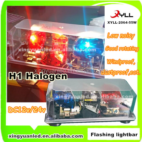 Rotating H1 Halogen warning light bar,55W 12v emergency car lightbar for cars and all automobile (XYLL-2064)