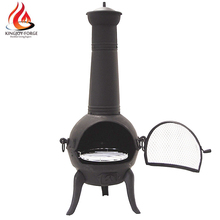 Manufacture outdoor wood burning cast iron Chiminea with BBQ grill