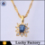 Fashion simple white crystal gold plated blue topaz pendant for women