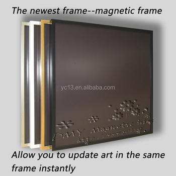 hot selling magnetic photo frames with wooden stretcher bar