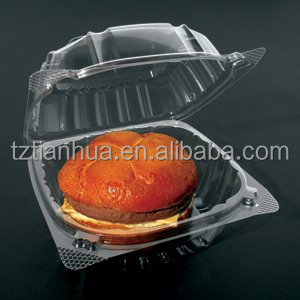 OPS Material ClearSeal Hinged Lid Plastic Clamshell Container for Hamburger,Salad, Slices of pie Packaging