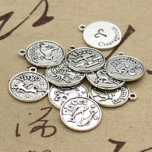 12 types Charms Zodiac Virgo Aries Cancer Leo Libra 20*17 mm Antique Silver Pendants Making Handmade Tibetan Silver Jewelry