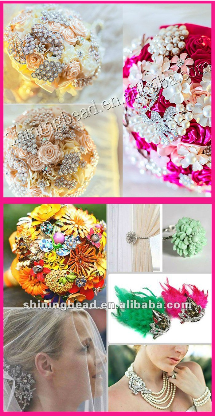 2016 New Design Wholesale Wedding Bridal Bouquet Fashion Alloy Flower Rhinestone Brooch For Festival Collection