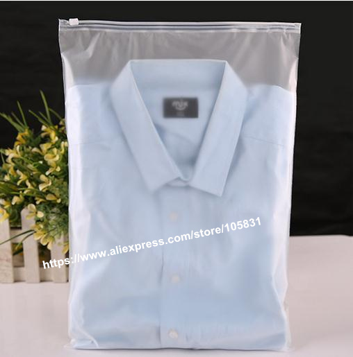 Zip lock Zipper Top frosted plastic bags for clothing, T-Shirt , Skirt retail packaging customized logo printing