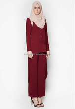 Latest two piece suit women muslim dress fashion islamic clothing ladies