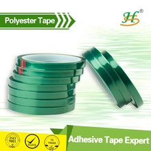 ISO9001&SGS Alibaba China Free Sample PET polyester silicone adhesive rolls, high temperature resistant green polyester PET tape