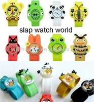 changeable kids silicone slap band watches with animal (SW-335)
