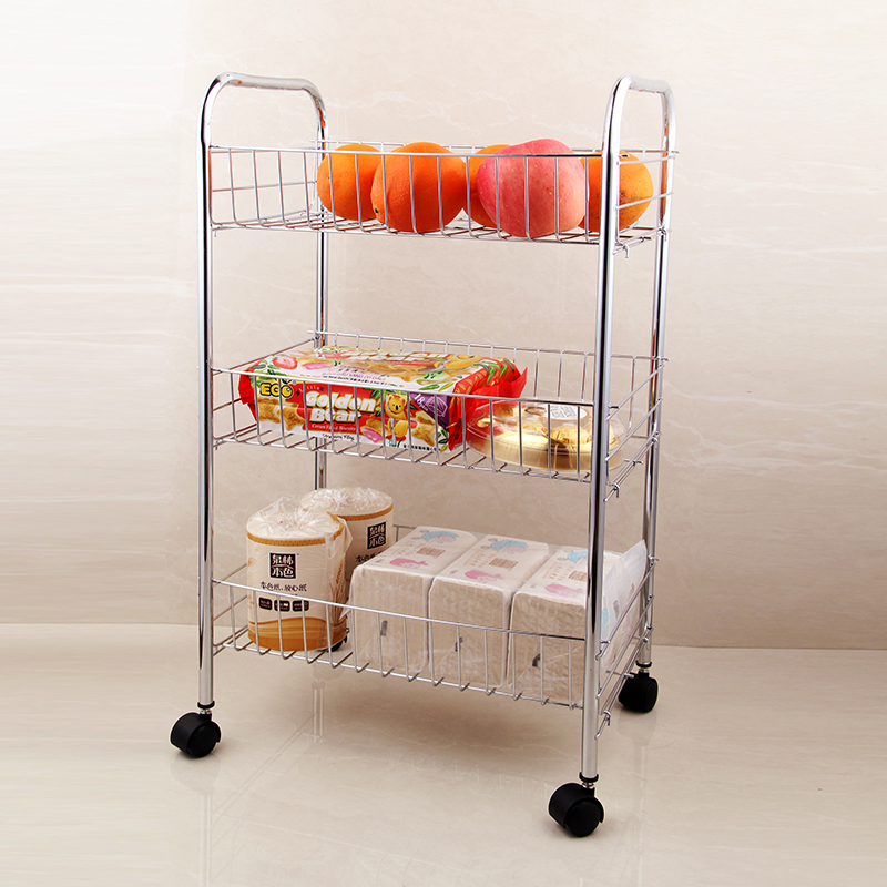 Factory Chrome Wire Cart Shelves 3-tier Storage Rack Holder Bath Kithchen Organize