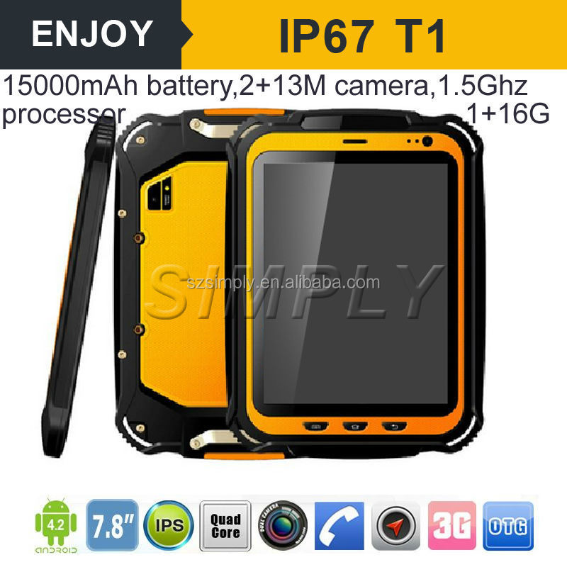 3G quadcore 15000mAh battery WIFI GPS1+ 16G ROM Rugged Tablet Computer
