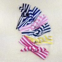 Wholesale striped rabbit ears black and white stripes infant headband flower baby headband