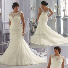 Free shipping cap sleeve beaded customize big size XL XXL lace 2015 mermaid wedding gowns CWFaw5803
