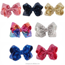 5 INCH Sparkling Sequined Girls Hair Bow BH2763Q