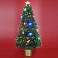 Halogen Bulb or LED Power Fiber Optic Christmas Trees with LED Ornaments