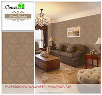 Flower damask design pvc wallpaper for living room