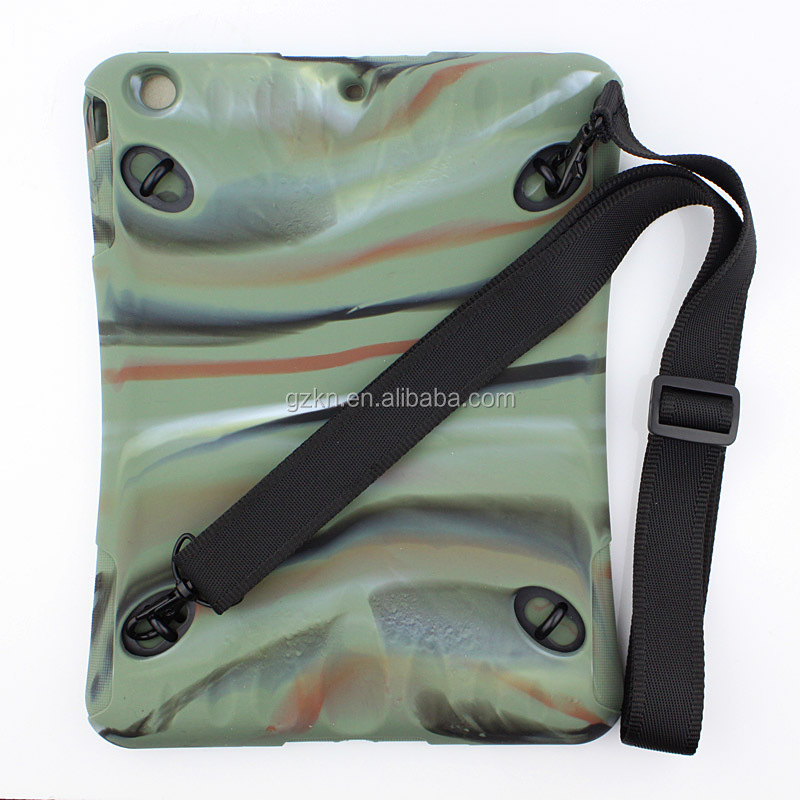 For iPad Air slim rubber skin case with shoulder band camouflage color