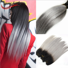 New Arrival brazilian straight remy hair ombre silver grey hair weaving 1b/gray two tone Brazilian Virgin human hair extensions