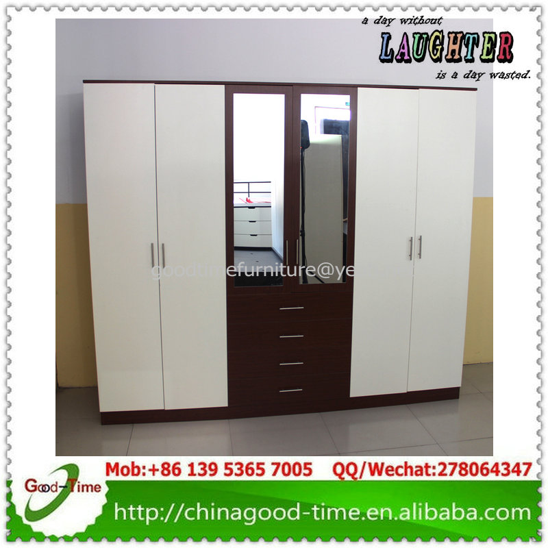bedroom closet wood wardrobe cabinets, 4 door wardrobe with mirror