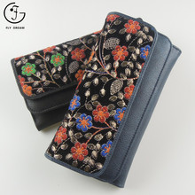 China Imperial Manufacturer Custom Euro Embroidered Floral Wallet