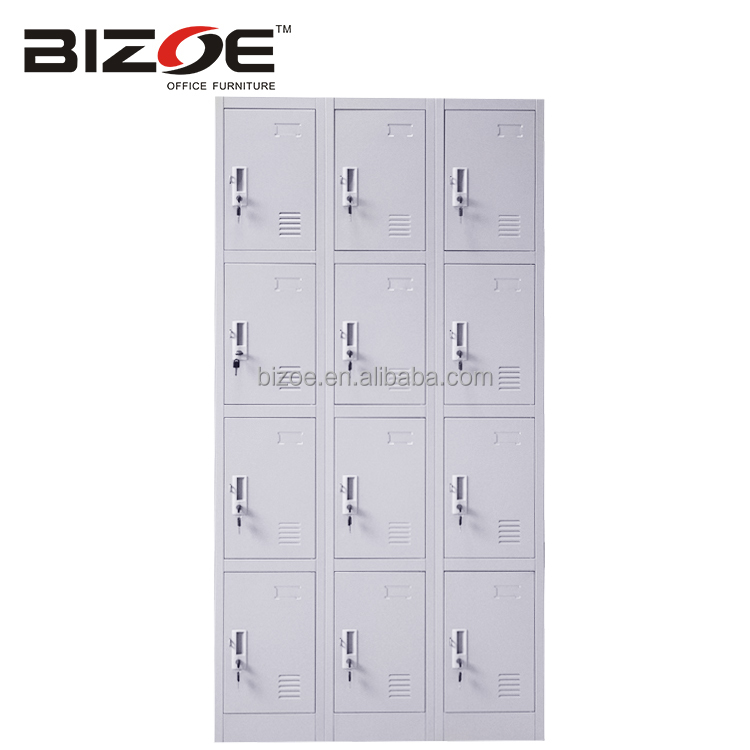 durable modern design kd industrial clothing 12 doors storage cabinet