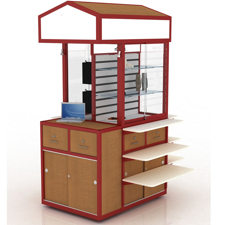 Natural wood design mall food kiosk of candy kiosk manufactures