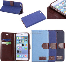 High Quality Jeans cloth PU leather case for apple iPhone6 Plus , for iphone 6plus wallet case