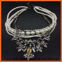 Latest design Pearl quality super flash crystal party alloy flower pendant necklaces